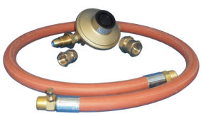 Clesse 5Kg Gold Regulator And Hose Kit with 15mm and 22mm adaptors