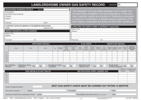 Landlords Gas Safety Record Pad REGP45